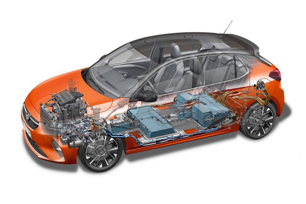 nieuwe opel corsa-e batterij en techniek